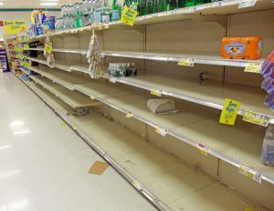 empty store shelves during coronavirus pandemic