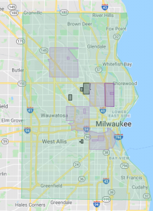map of Milwaukee with delivery range outlined
